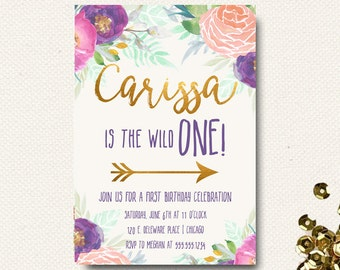 Wild One Birthday Girls | Wild 1 Tribal Invitations Invite | Boho Chic Floral | Printed | Printable | Template