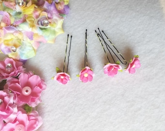 10 Wedding Bridal Bridesmaid  Poysian Mulberry Paper Flower Hair Pins Clips.  Hairpins Hair Accessories. Fast from USA