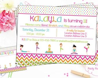 Yoga Birthday Party Digital Invitation - Yoga Invitation - Yoga Digital Invite - Namaste Invite - You Print - Yoga Party Theme
