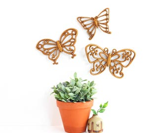 Vintage Butterflies Wall Decor by Homco / Butterfly Wall Decor / Vintage Butterfly Wall Plaques / Boho Home Decor / Boho Wall Hangings