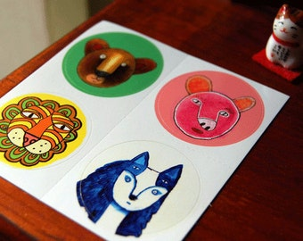 Animal Bros round vinyl stickers, 4 glossy bright color, cute art stickers