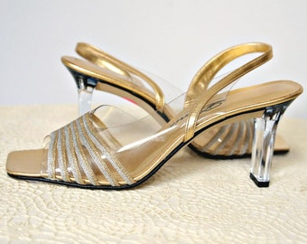 1990's Shoes Clear Heel Gold and Silver Slingback Sandal Pumps Dance Wedding Size 7 Narrow