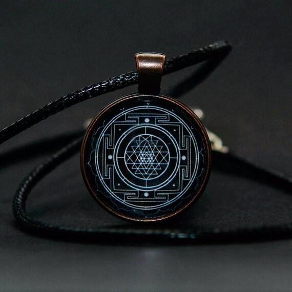 Sri yantra pendant sri yantra necklace sacred geometry like this item mozeypictures Images