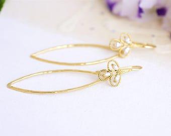 Gold drop earrings, Oval earrings, Gold flower earrings, Hammered earrings, Oval drop earrings, Gold oval earrings, Hammered gold earrings