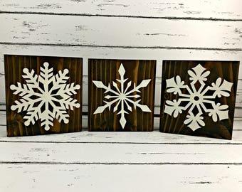 Snowflakes - Set of 3 Snowflake Blocks - Snowflake Blocks - Shelf Sitter - Wood Block - Winter Decor - Holiday Decor - Christmas Decor