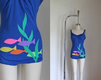 vintage 1960s swimsuit - SCHOOL of FISH blue one piece malliot / S/M