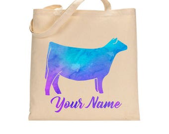 Custom Water Color Cattle Tote