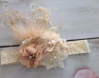 Newborn baby girls couture feathers,lace,flowers and pearls headband