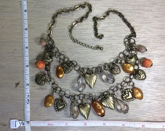 """Vintage 16""""-18"""" Brass Toned Necklace Hearts Faux Stones Needs Clasp Used"""