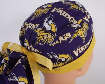 Vikings Ponytail - Womens surgical scrub cap, scrub hat, Nurse surgical cap, f-3690w