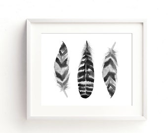 Feathers Wall Art Printable, Black and White Print, Boho Wall Art, Printable Decor, Black Feather Wall Art, Feather Print