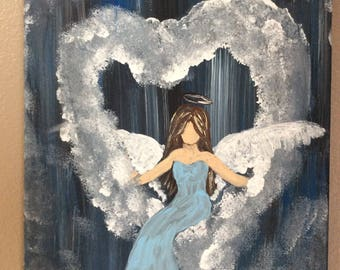 Acrylic Painting of Angel in Heart Shaped Clouds