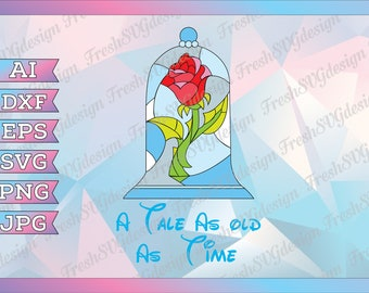 Beauty And The Beast Rose SVG, Beauty Beast Rose svg, Beauty and the Beast Printable, Beauty Beast Rose cricut, A Tale As Old As Time Svg