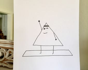 Yoga Drawing, Cartoon, Triangle Pose, Yoga Art, Black and White Cartoon