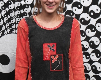 Ladies Flower Embroidery Stonewash/Acidwash Long Sleeve Top, Colourful Hippie Boho, 8 10 12 14