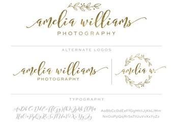 Gold Mini Branding Package, Photography Logo and Watermark, Premade Marketing Kit bp67