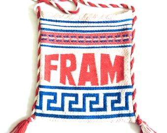 Fram white blue red shoulder bag