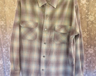Vintage 1950s Penney's Shadow Plaid Loop Collar Wool Shirt L 15 - 15 1/2 / Wool Plaid shirt