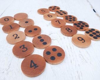Number matching game, Memory game, Math game, Montessori math, Waldorf math, Wooden educational game, Toddler gift, Busy bag