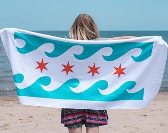 Chicago Flag Waves Beach Towel