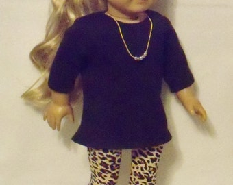 American Made 18 inch Doll Black Tunic T Shirt Top & Leopard Leggings + Necklace