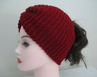 Knit Ear Warmer Headband Knitted Head Band Cranberry Earwarmer Hand Knit Crimson Turban Ponytail Hat