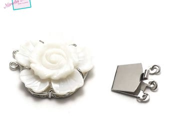 "gorgeous mother-of-Pearl clasp 1 ""flower"" triple strand, 32 x 10 mm White Pearl/silver"