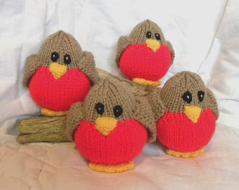 Hand Knitted Robin - CE Marked Toy Bird - Stuffed Toy Bird for Babies and Children - Pram Toy - Baby Toy