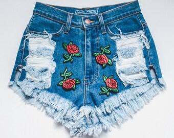 Rose Patch Denim Shorts - High waisted shorts - jean shorts - distressed shorts - ripped shorts - women's shorts - high waisted denim shorts