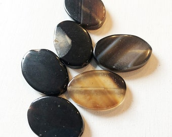 30 x 20mm Flat Oval Black Agate Stone Beads
