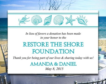 "Beach Wedding Favor Donation Card Template - Seashell Wedding Charity Favor Donation Card - ""Coastal Dreams"" Ocean Wedding Favor DIY Wedding"