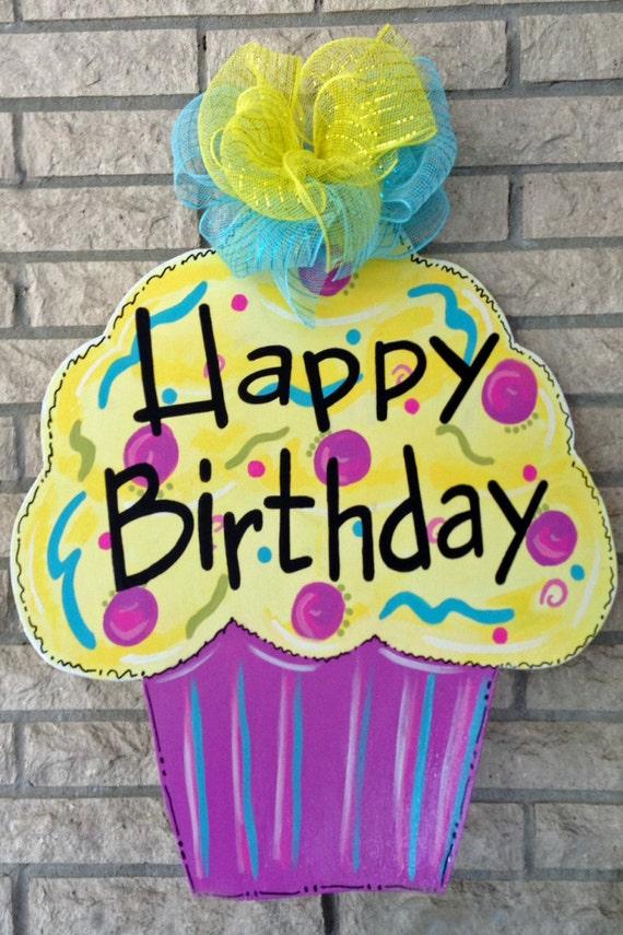 Happy Birthday Cupcake Wood Door Hanger Front Door Decor Door