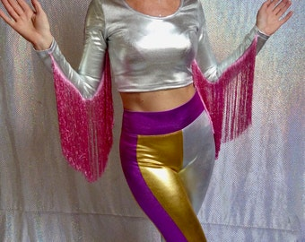 Metallic spandex silver and pink crop top with fringed sleeves - fairylove