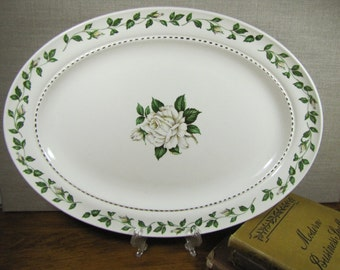 Vintage Superior Hall Quality Dinnerware - Serving Platter - Cameo Rose Pattern & CTSI Brittany Rose Dinner Plates Wide Gray Lip