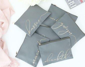 Set of 6 Script Cosmetic Bags - Monogram Gold - Makeup Bag, Custom Cosmetic Bag, Personalized Toiletry Bags