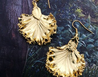 Real Leaves Jewelry, Kale Lettuce Leaf Earrings, 24K gold dipped nature's leaves by Woodsmith