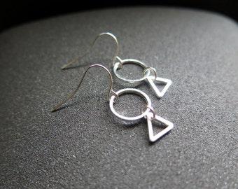 small silver dangle earings. triangle geometric jewelry. made in Canada