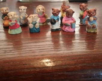 10 Miniature Vintage Handmade Composite Pig and Bear Figurines