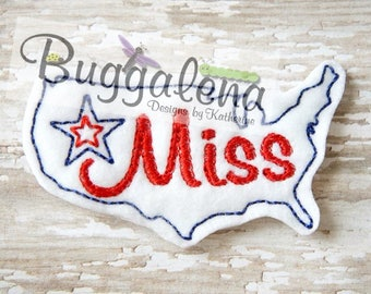 Miss A-merica OVERSIZED Feltie Embroidery Design