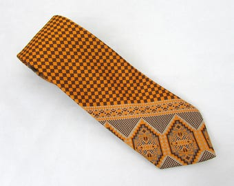 "1970s Wembley Graphic Wide Neck Tie - 55"" x 4"" - olive, gold and brown"