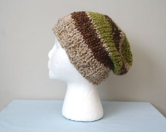 Crochet Slouch Hat, Crochet Slouchy Beanie, Brown Green Striped Beanie