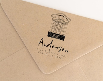 Hand Drawn Porch Stamp, Illustrated Address Stamp, Custom House Warming Gift, Custom Return Addres Stamp, Hand Drawn Stamp (SADDR167)