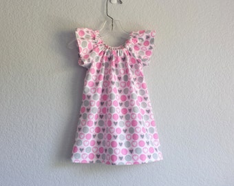 Little Girls Flutter Sleeve Dress - Rows of Pink and Grey Hearts on White - Girls Pink Flannel Dress - Size 12m, 18m, 2T, 3T, 4T, 5, 6 or 8