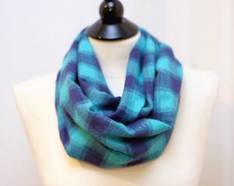 Infinity Scarf - Flannel - Turquoise and Purple
