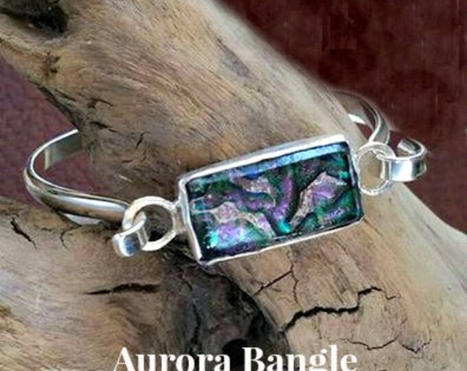 Ashes in Glass Aurora Memorial Bangle Bracelet in Sterling Silver, Pet Memorial, Cremation Jewelry