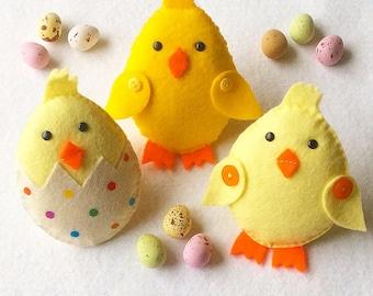 Felt Chick Ornaments PDF Sewing Pattern