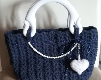 Jeans bag and white crochet