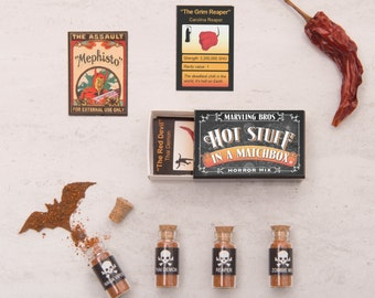 Horror Mix World Hottest Chilli Powder In A Matchbox, Chilli Gift, Gifts For Dad, Boyfriend Gift, Gifts For Men, Spice Rack, Carolina Reaper
