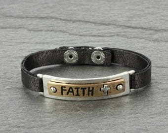 FAITH Inspirational Leather Bracelet