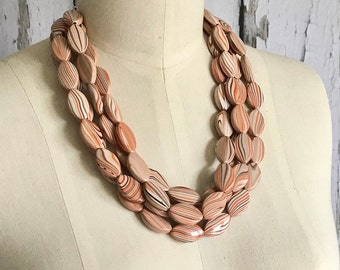 LIMITED ADDITION, Orange and Brown Statement Necklace, Beaded Necklace, ACRYLIC Necklace, Retro Style